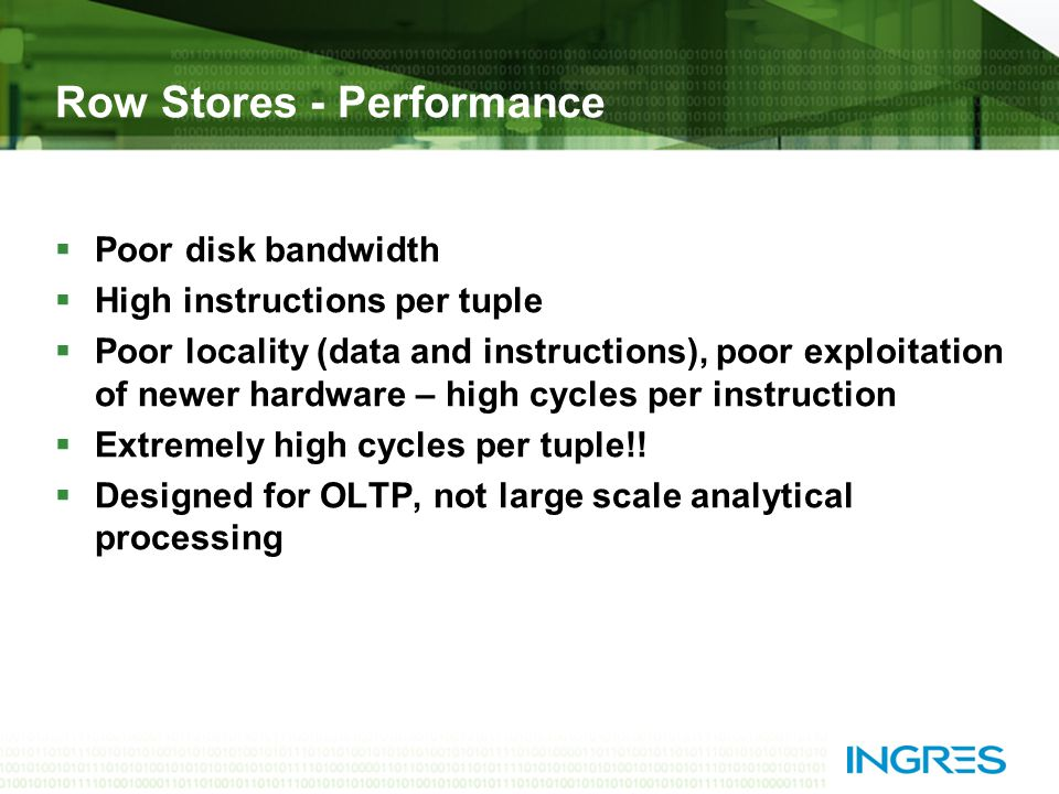 Row Stores - Performance  Poor disk bandwidth  High instructions per tuple  Poor locality (data and instructions), poor exploitation of newer hardware – high cycles per instruction  Extremely high cycles per tuple!.