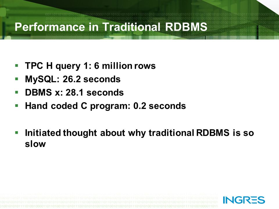 Performance in Traditional RDBMS  TPC H query 1: 6 million rows  MySQL: 26.2 seconds  DBMS x: 28.1 seconds  Hand coded C program: 0.2 seconds  Initiated thought about why traditional RDBMS is so slow