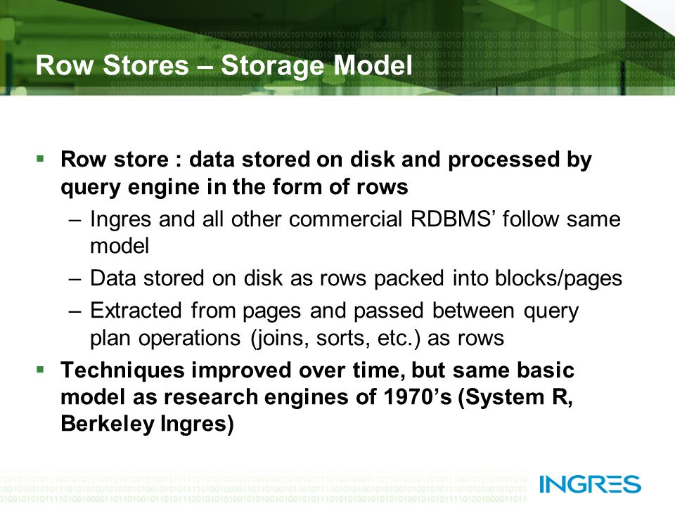 Row Stores – Storage Model  Row store : data stored on disk and processed by query engine in the form of rows –Ingres and all other commercial RDBMS' follow same model –Data stored on disk as rows packed into blocks/pages –Extracted from pages and passed between query plan operations (joins, sorts, etc.) as rows  Techniques improved over time, but same basic model as research engines of 1970's (System R, Berkeley Ingres)