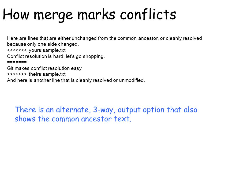 How merge marks conflicts Here are lines that are either unchanged from the common ancestor, or cleanly resolved because only one side changed.