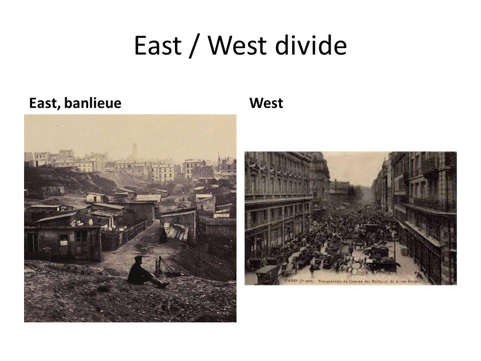 East / West divide East, banlieueWest