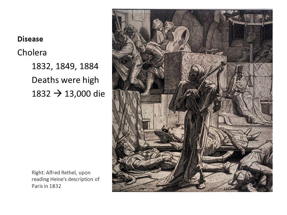 Disease Cholera 1832, 1849, 1884 Deaths were high 1832  13,000 die Right: Alfred Rethel, upon reading Heine's description of Paris in 1832