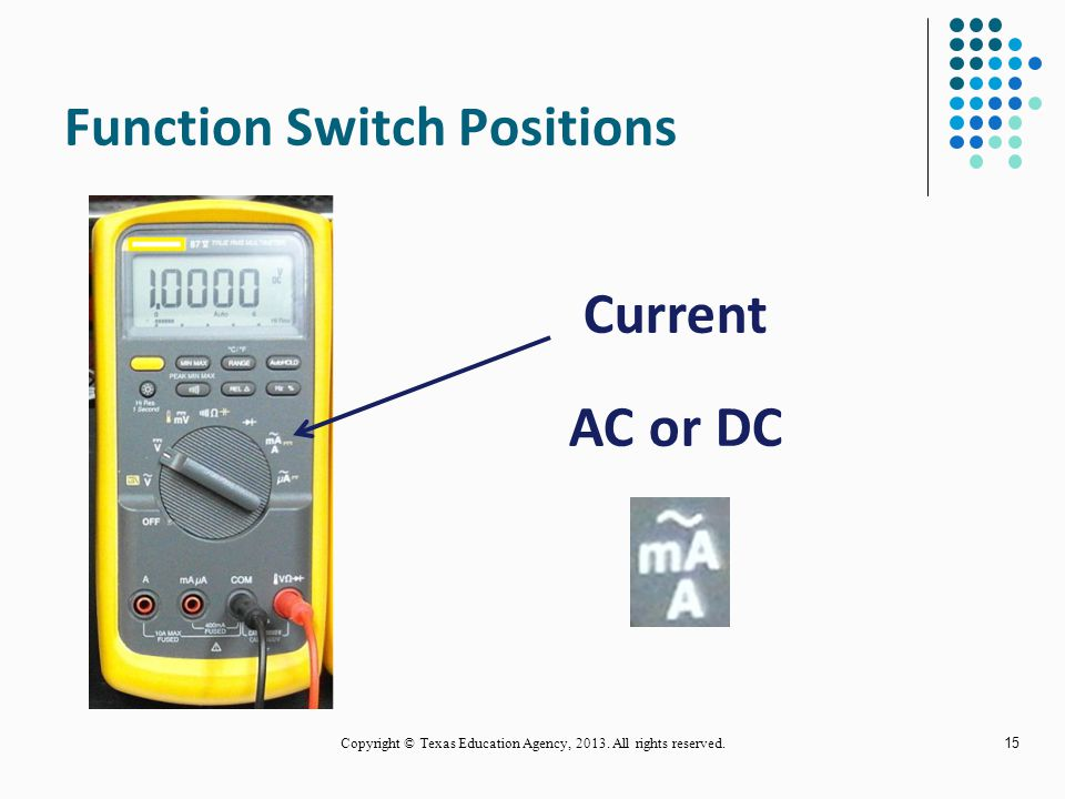 Function Switch Positions 14 Resistance Continuity Copyright © Texas Education Agency, 2013. All rights reserved.
