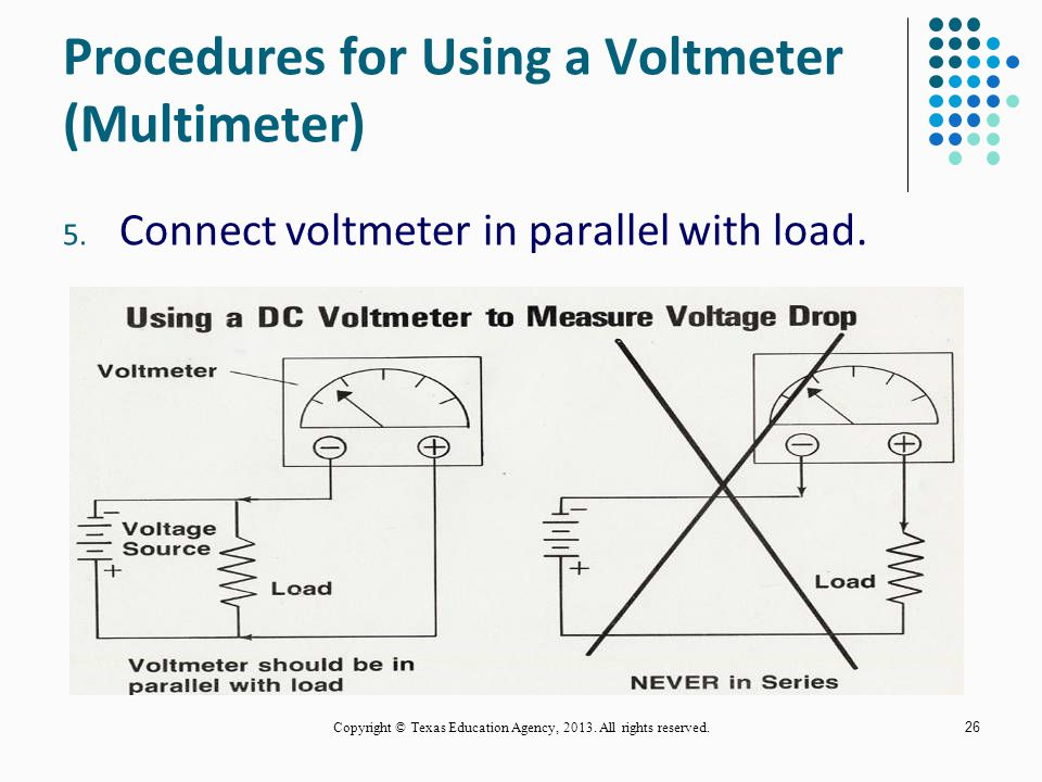 25 Procedures for Using a Voltmeter (Multimeter) 1. Hold probes by insulated part. 2. Select AC or DC voltage. 3. Set range switch for correct range.