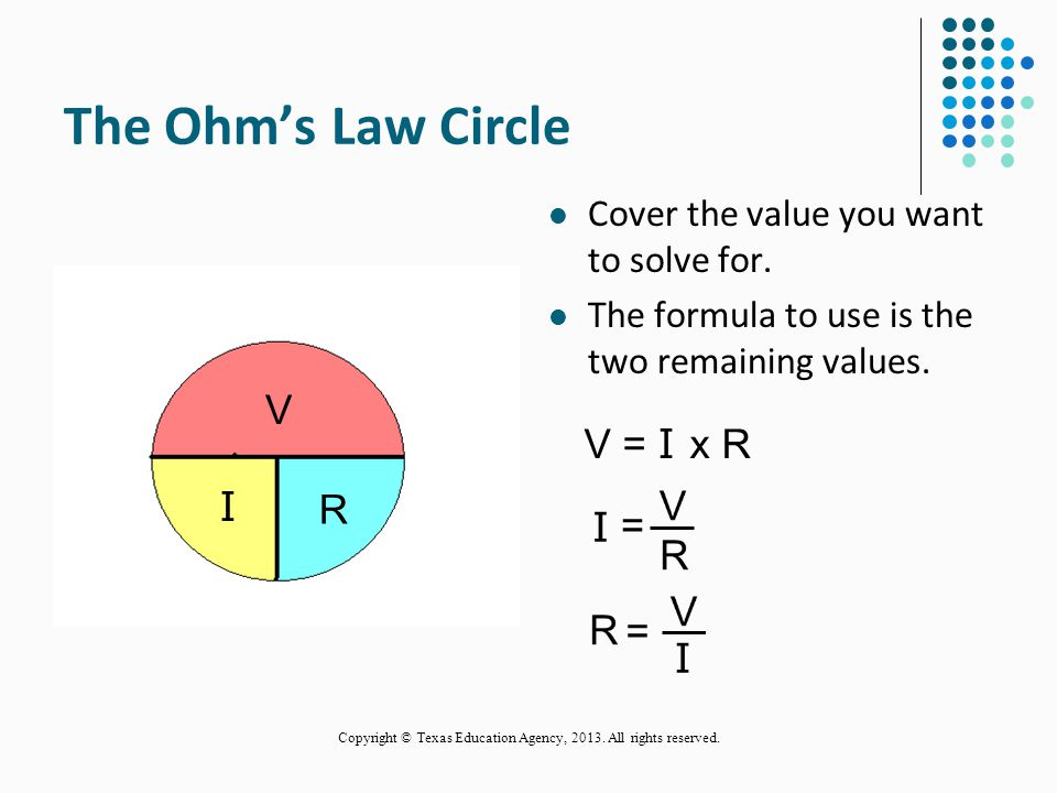Follow The Law! All electrical measurements are based on Ohm's Law. Ohm's Law describes the relationships between voltage, current, and resistance. 28