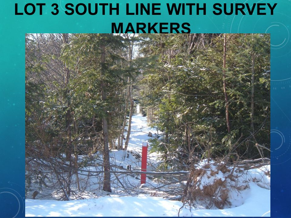 LOT 3 SOUTH LINE WITH SURVEY MARKERS