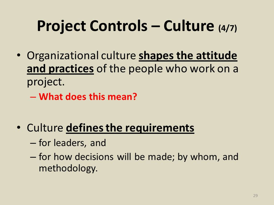 Project Controls – Culture (4/7) Organizational culture shapes the attitude and practices of the people who work on a project.