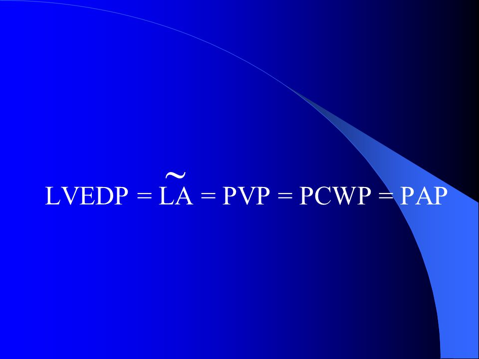 LVEDP = LA = PVP = PCWP = PAP 