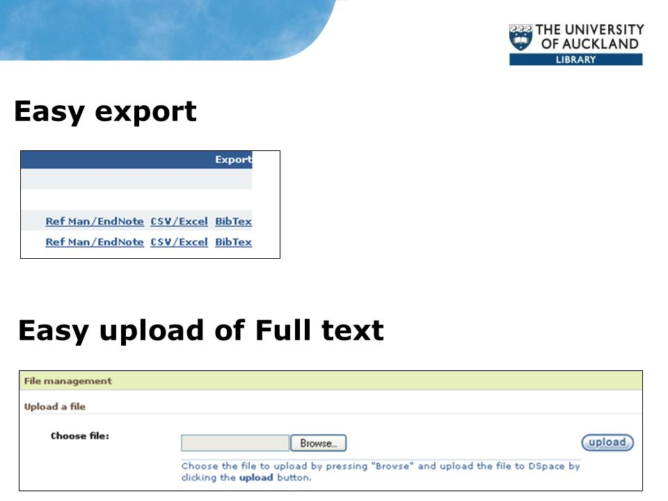Easy export Easy upload of Full text