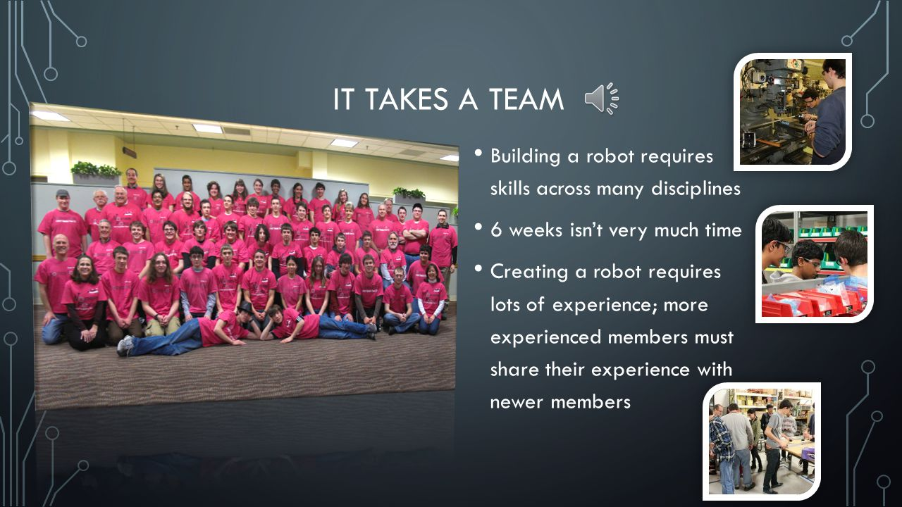 IT TAKES A TEAM Building a robot requires skills across many disciplines 6 weeks isn't very much time Creating a robot requires lots of experience; more experienced members must share their experience with newer members