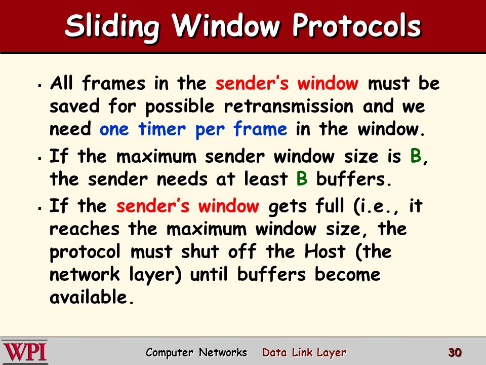 Sliding Window Diagram DCC 9 th Ed. Stallings 31 Computer Networks Data Link Layer