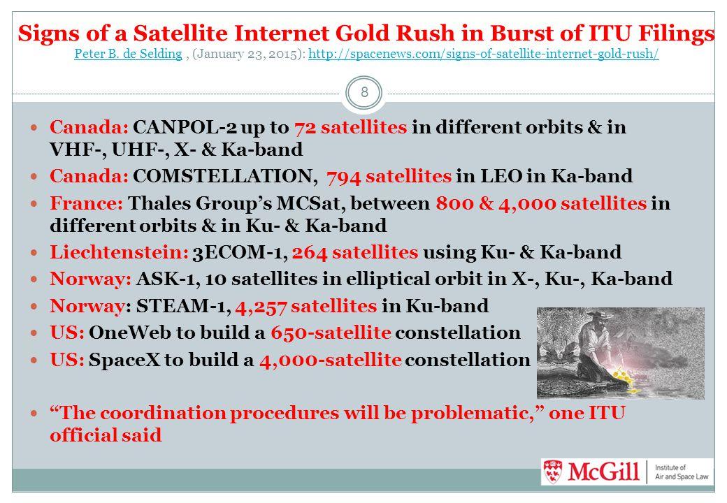 Signs of a Satellite Internet Gold Rush in Burst of ITU Filings Peter B. de Selding, (January 23, 2015): http://spacenews.com/signs-of-satellite-inter