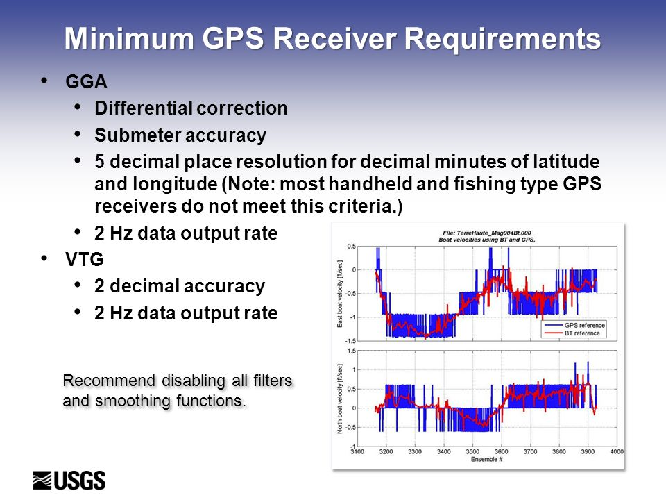 Minimum GPS Receiver Requirements GGA Differential correction Submeter accuracy 5 decimal place resolution for decimal minutes of latitude and longitude (Note: most handheld and fishing type GPS receivers do not meet this criteria.) 2 Hz data output rate VTG 2 decimal accuracy 2 Hz data output rate Recommend disabling all filters and smoothing functions.