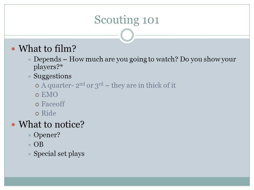 Scouting 101 What to include: Shooting Chart: All teams have shooting tendencies.