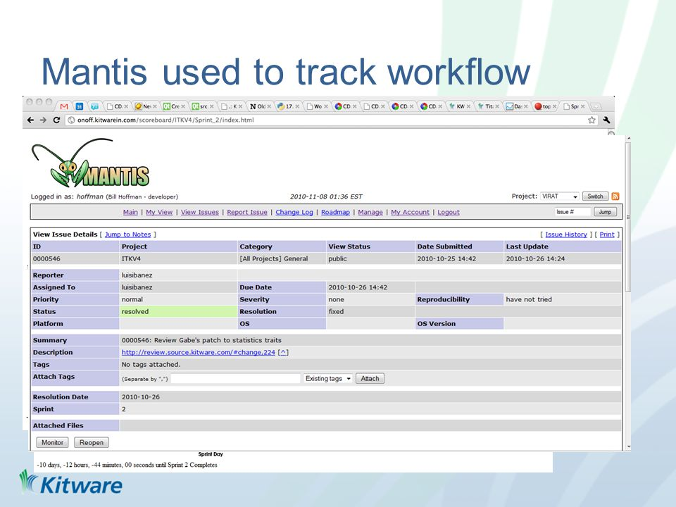 Mantis used to track workflow