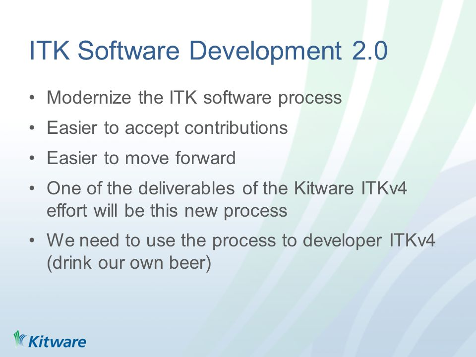 Overview CMake git based workflow Titan workflow ITKv4 workflow –Current –Future Scrum at Kitware (project managment process) –Application to ITKv4 effort