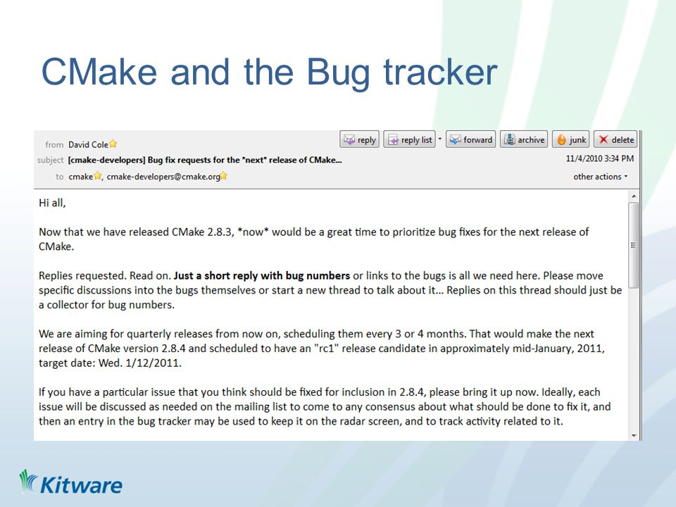 CMake and the Bug tracker
