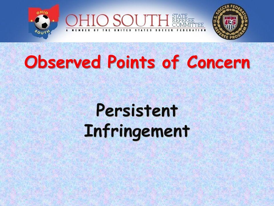 Observed Points of Concern PersistentInfringement
