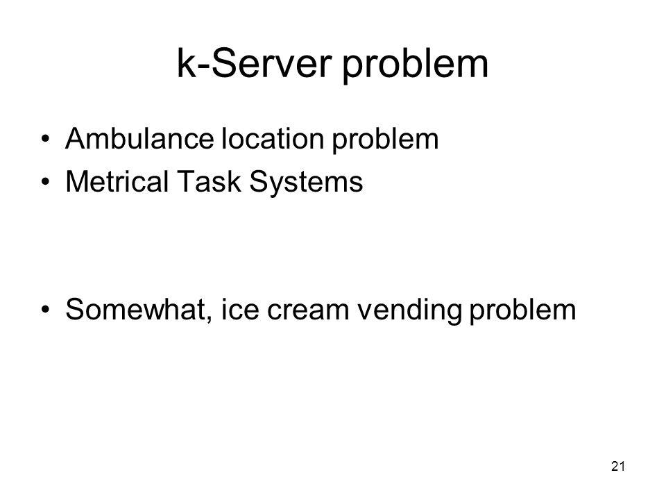 k-Server problem Ambulance location problem Metrical Task Systems Somewhat, ice cream vending problem 21