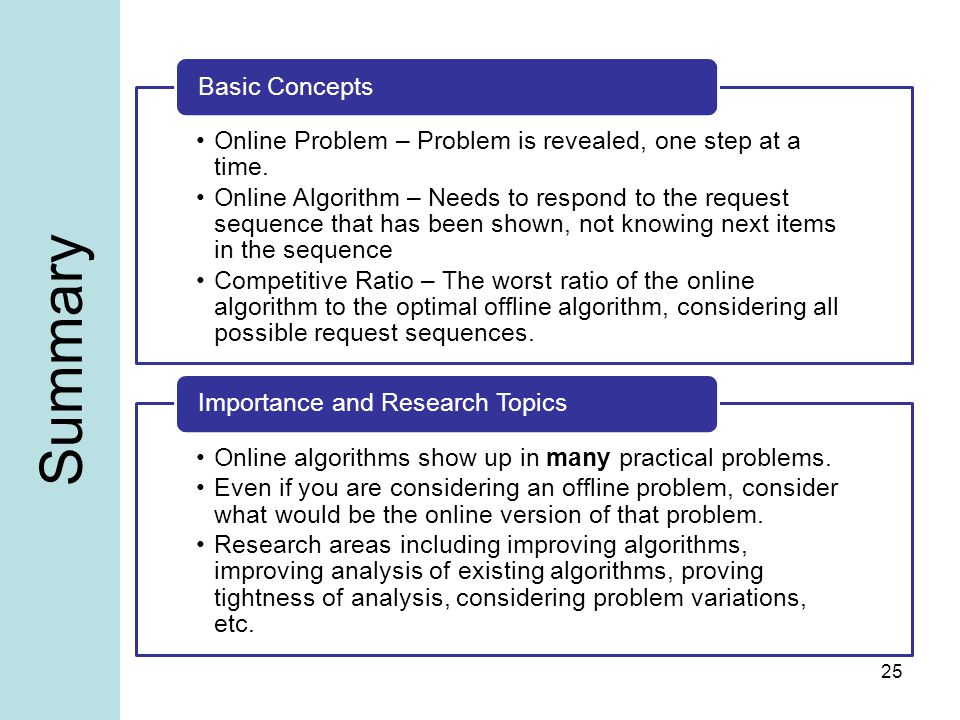 Summary Online Problem – Problem is revealed, one step at a time.