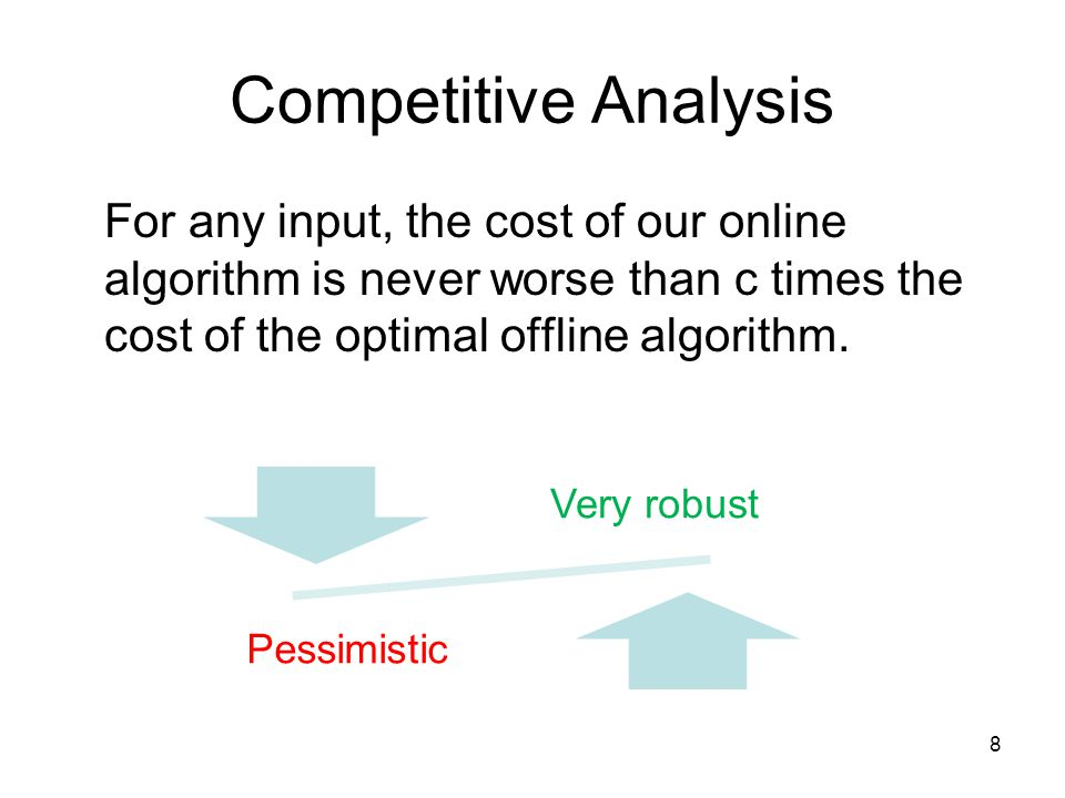 Competitive Analysis For any input, the cost of our online algorithm is never worse than c times the cost of the optimal offline algorithm.