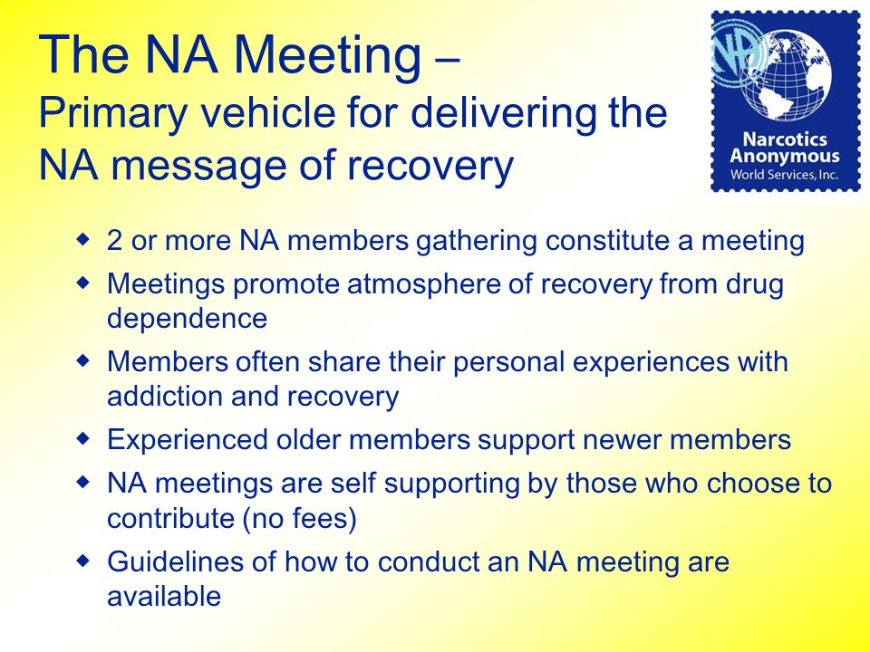 The NA Meeting – Primary vehicle for delivering the NA message of recovery ◆2 or more NA members gathering constitute a meeting ◆Meetings promote atmo