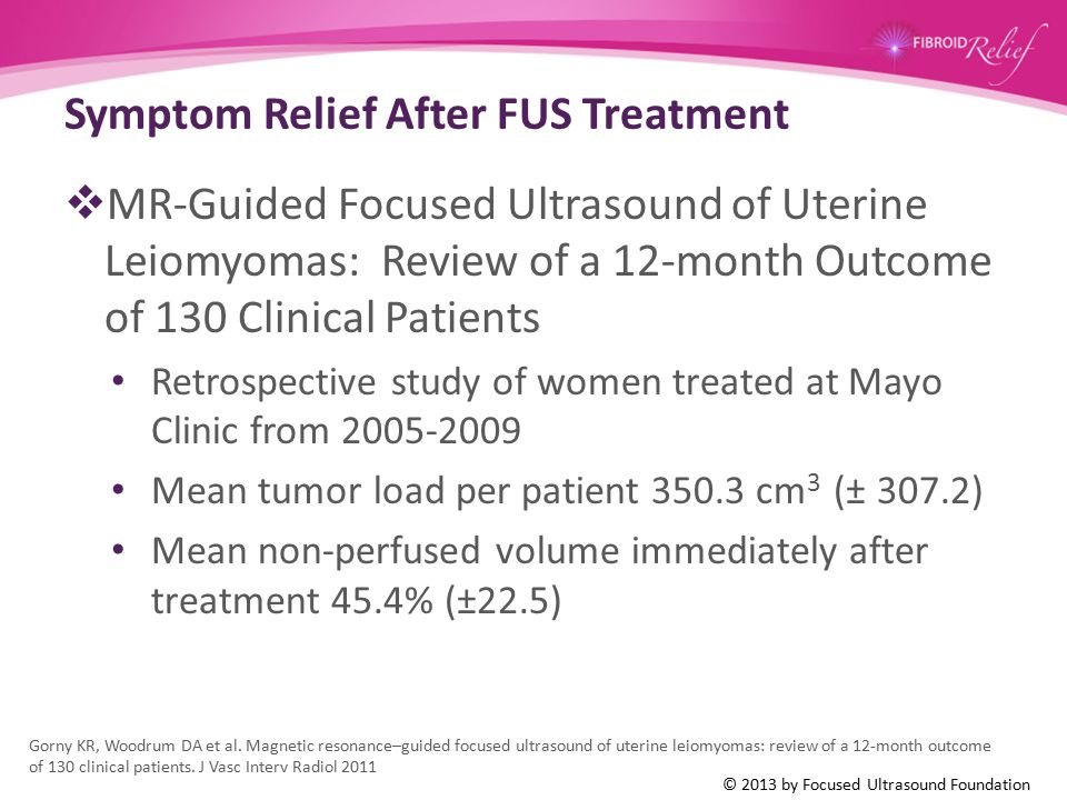 Symptom Relief After FUS Treatment  MR-Guided Focused Ultrasound of Uterine Leiomyomas: Review of a 12-month Outcome of 130 Clinical Patients Retrosp