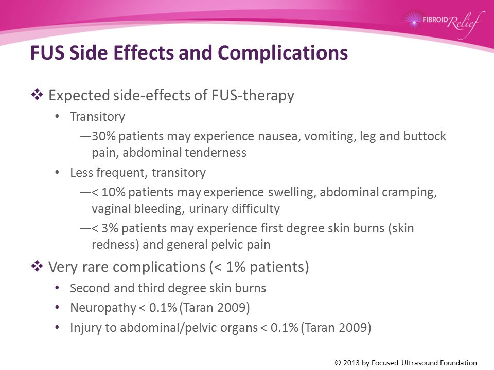 FUS Side Effects and Complications  Expected side-effects of FUS-therapy Transitory —30% patients may experience nausea, vomiting, leg and buttock pa