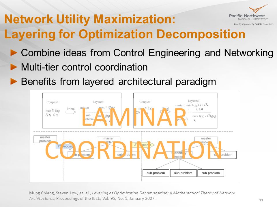 Network Utility Maximization: Layering for Optimization Decomposition Combine ideas from Control Engineering and Networking Multi-tier control coordination Benefits from layered architectural paradigm Mung Chiang, Steven Low, et.