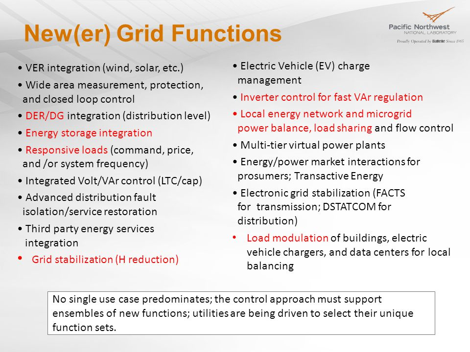 New(er) Grid Functions VER integration (wind, solar, etc.) Wide area measurement, protection, and closed loop control DER/DG integration (distribution level) Energy storage integration Responsive loads (command, price, and /or system frequency) Integrated Volt/VAr control (LTC/cap) Advanced distribution fault isolation/service restoration Third party energy services integration Grid stabilization (H reduction) Electric Vehicle (EV) charge management Inverter control for fast VAr regulation Local energy network and microgrid power balance, load sharing and flow control Multi-tier virtual power plants Energy/power market interactions for prosumers; Transactive Energy Electronic grid stabilization (FACTS for transmission; DSTATCOM for distribution) Load modulation of buildings, electric vehicle chargers, and data centers for local balancing No single use case predominates; the control approach must support ensembles of new functions; utilities are being driven to select their unique function sets.