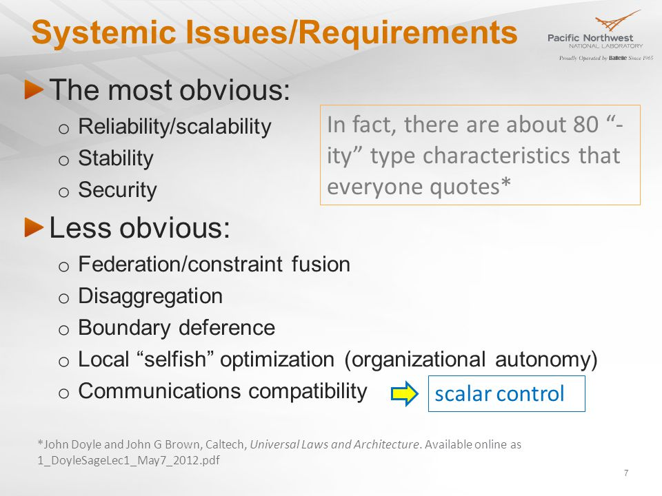 Systemic Issues/Requirements The most obvious: o Reliability/scalability o Stability o Security Less obvious: o Federation/constraint fusion o Disaggregation o Boundary deference o Local selfish optimization (organizational autonomy) o Communications compatibility scalar control 7 In fact, there are about 80 - ity type characteristics that everyone quotes* *John Doyle and John G Brown, Caltech, Universal Laws and Architecture.