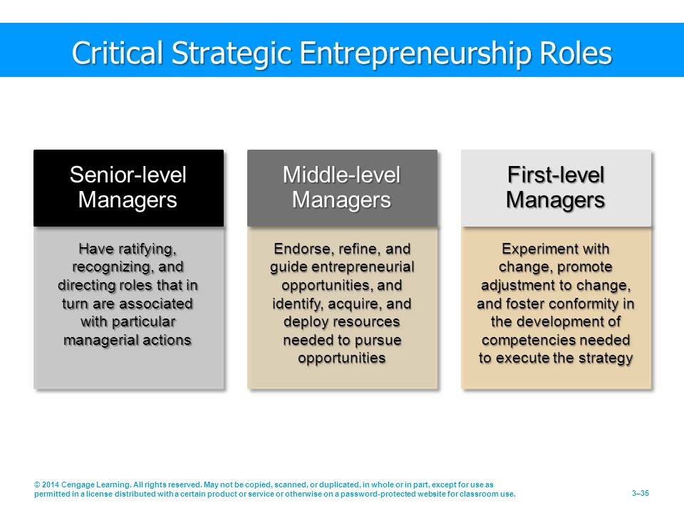 Have ratifying, recognizing, and directing roles that in turn are associated with particular managerial actions Endorse, refine, and guide entrepreneurial opportunities, and identify, acquire, and deploy resources needed to pursue opportunities Experiment with change, promote adjustment to change, and foster conformity in the development of competencies needed to execute the strategy Critical Strategic Entrepreneurship Roles Senior-level Managers Middle-level Managers First-level Managers © 2014 Cengage Learning.