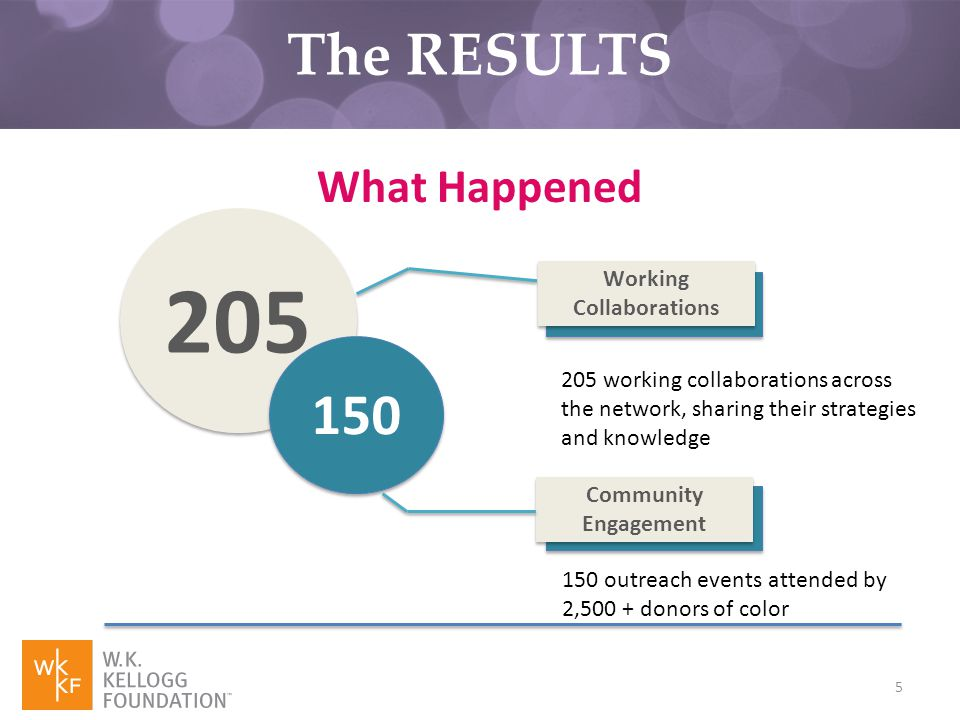 5 205 150 Working Collaborations 205 working collaborations across the network, sharing their strategies and knowledge Community Engagement 150 outreach events attended by 2,500 + donors of color What Happened The RESULTS
