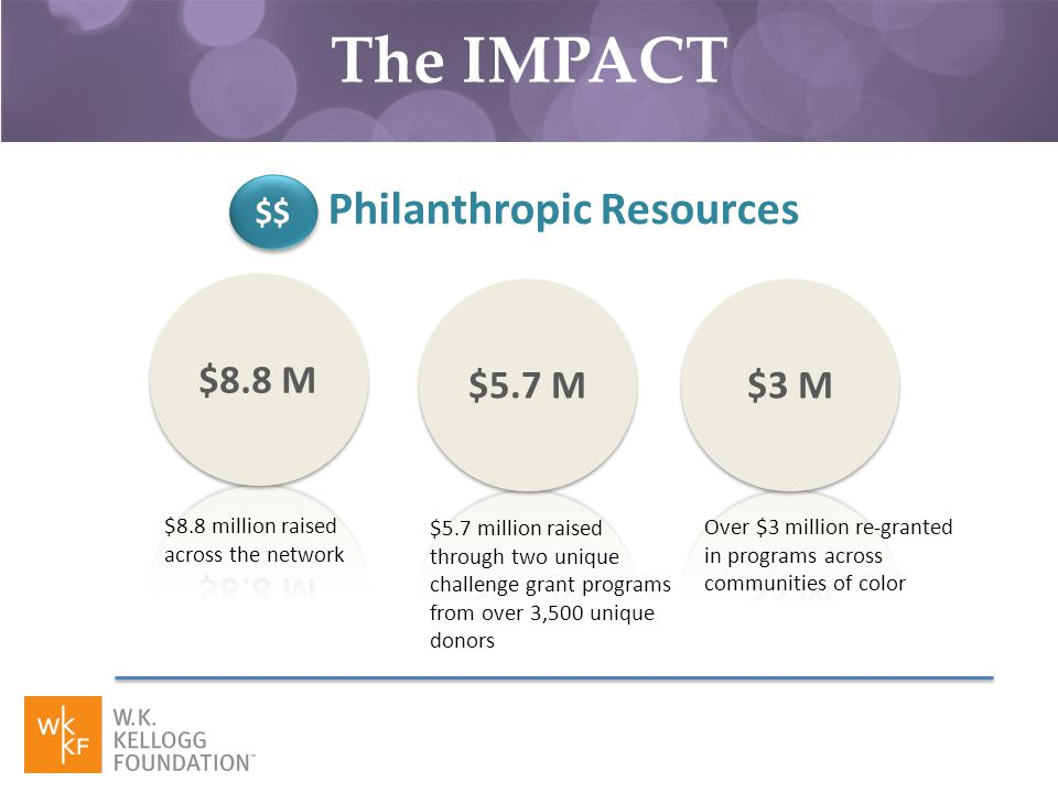 $$ Philanthropic Resources $8.8 million raised across the network $5.7 million raised through two unique challenge grant programs from over 3,500 unique donors Over $3 million re-granted in programs across communities of color The IMPACT