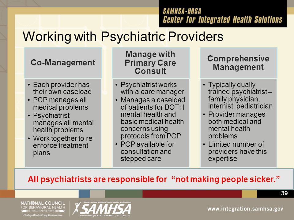 39 Working with Psychiatric Providers Co-Management Each provider has their own caseload PCP manages all medical problems Psychiatrist manages all men