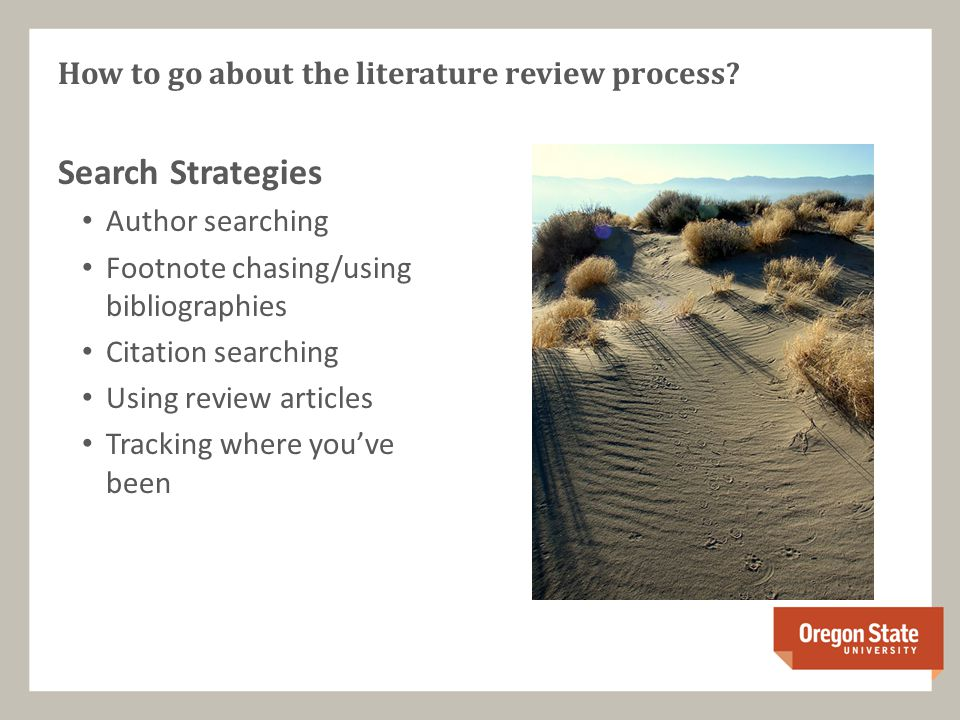 Search Strategies Author searching Footnote chasing/using bibliographies Citation searching Using review articles Tracking where you've been How to go about the literature review process