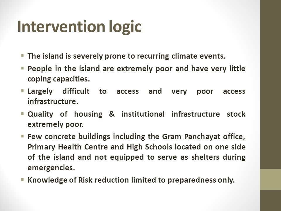 Intervention logic  The island is severely prone to recurring climate events.