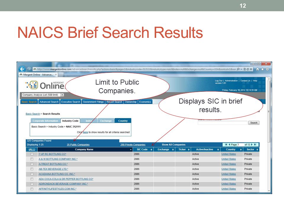 NAICS Brief Search Results 12 Limit to Public Companies. Displays SIC in brief results.