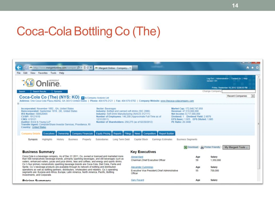 Coca-Cola Bottling Co (The) 14