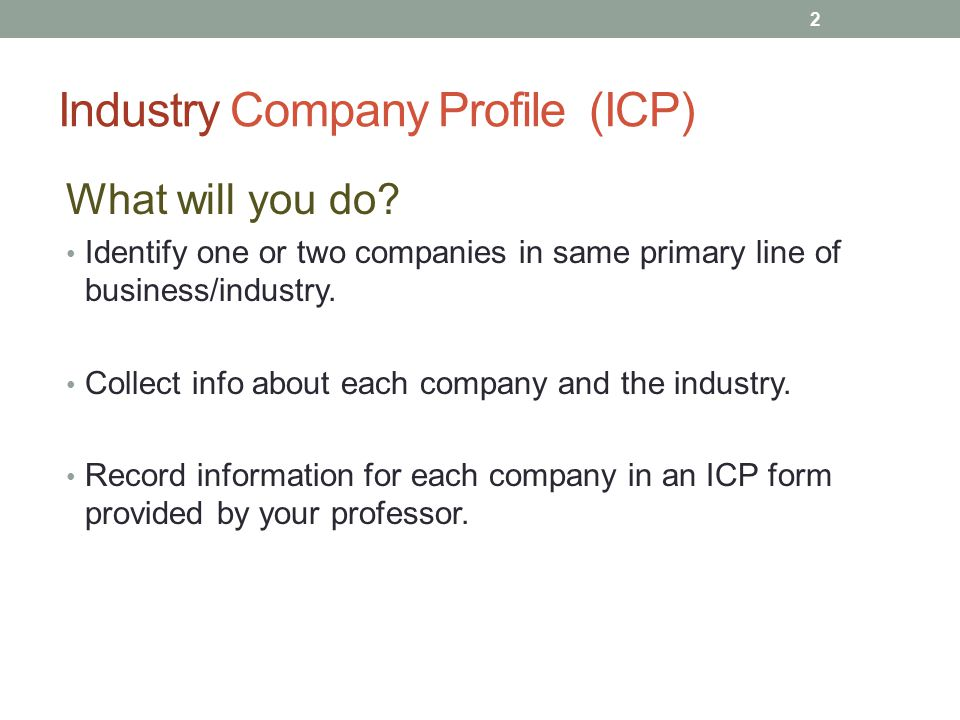 Industry Company Profile (ICP) What will you do.