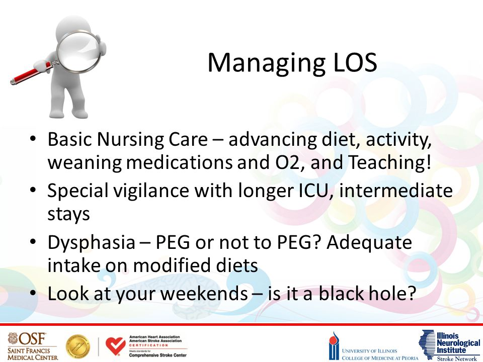 Managing LOS Basic Nursing Care – advancing diet, activity, weaning medications and O2, and Teaching.