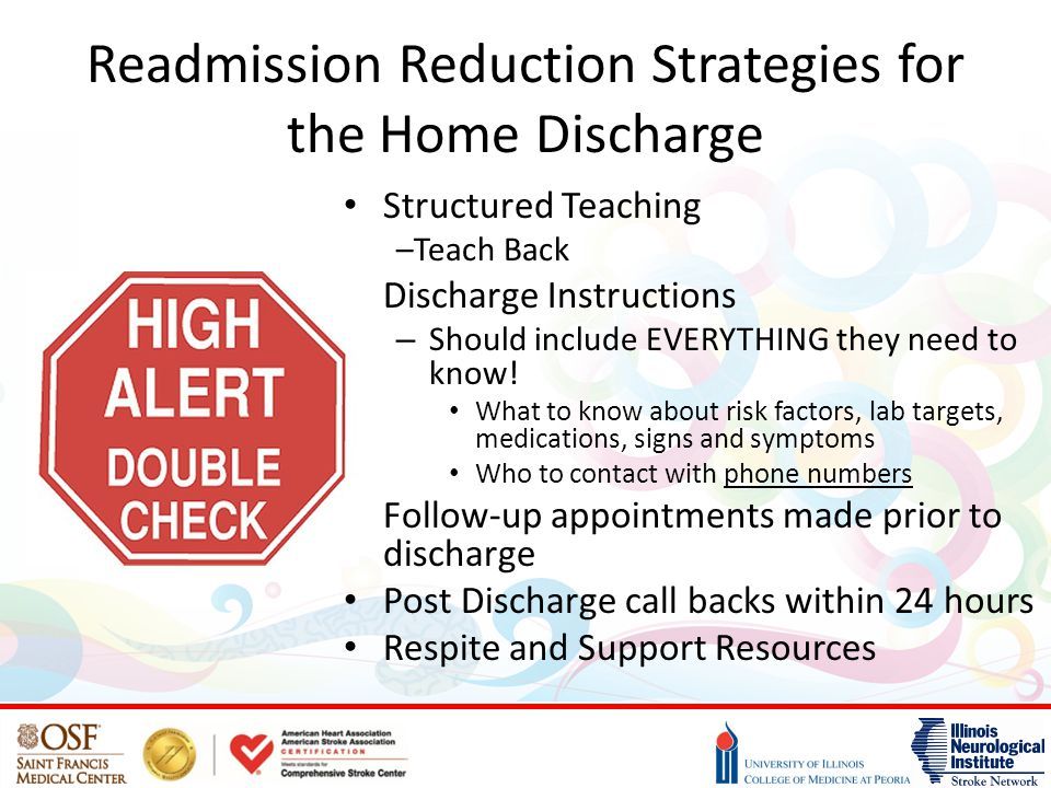 Readmission Reduction Strategies for the Home Discharge Structured Teaching –Teach Back Discharge Instructions – Should include EVERYTHING they need to know.