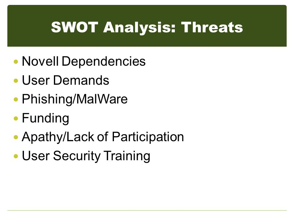 SWOT Analysis: Threats Novell Dependencies User Demands Phishing/MalWare Funding Apathy/Lack of Participation User Security Training