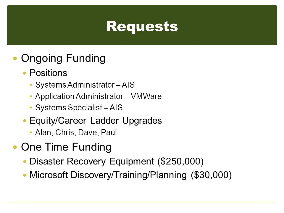 Requests Ongoing Funding Positions Systems Administrator – AIS Application Administrator – VMWare Systems Specialist – AIS Equity/Career Ladder Upgrades Alan, Chris, Dave, Paul One Time Funding Disaster Recovery Equipment ($250,000) Microsoft Discovery/Training/Planning ($30,000)