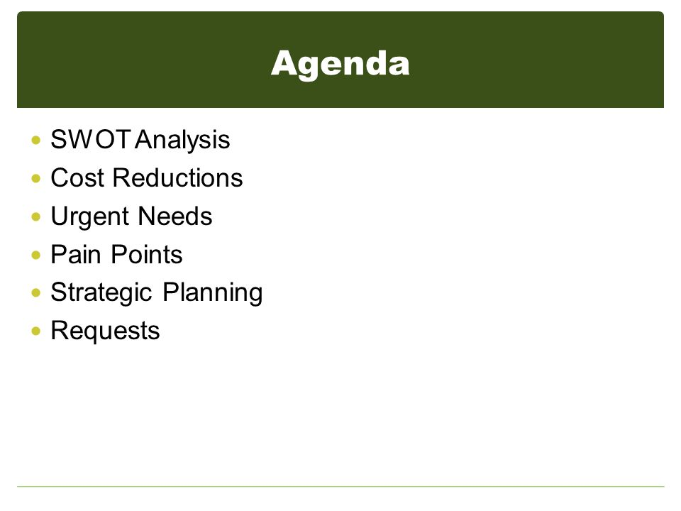 Agenda SWOT Analysis Cost Reductions Urgent Needs Pain Points Strategic Planning Requests
