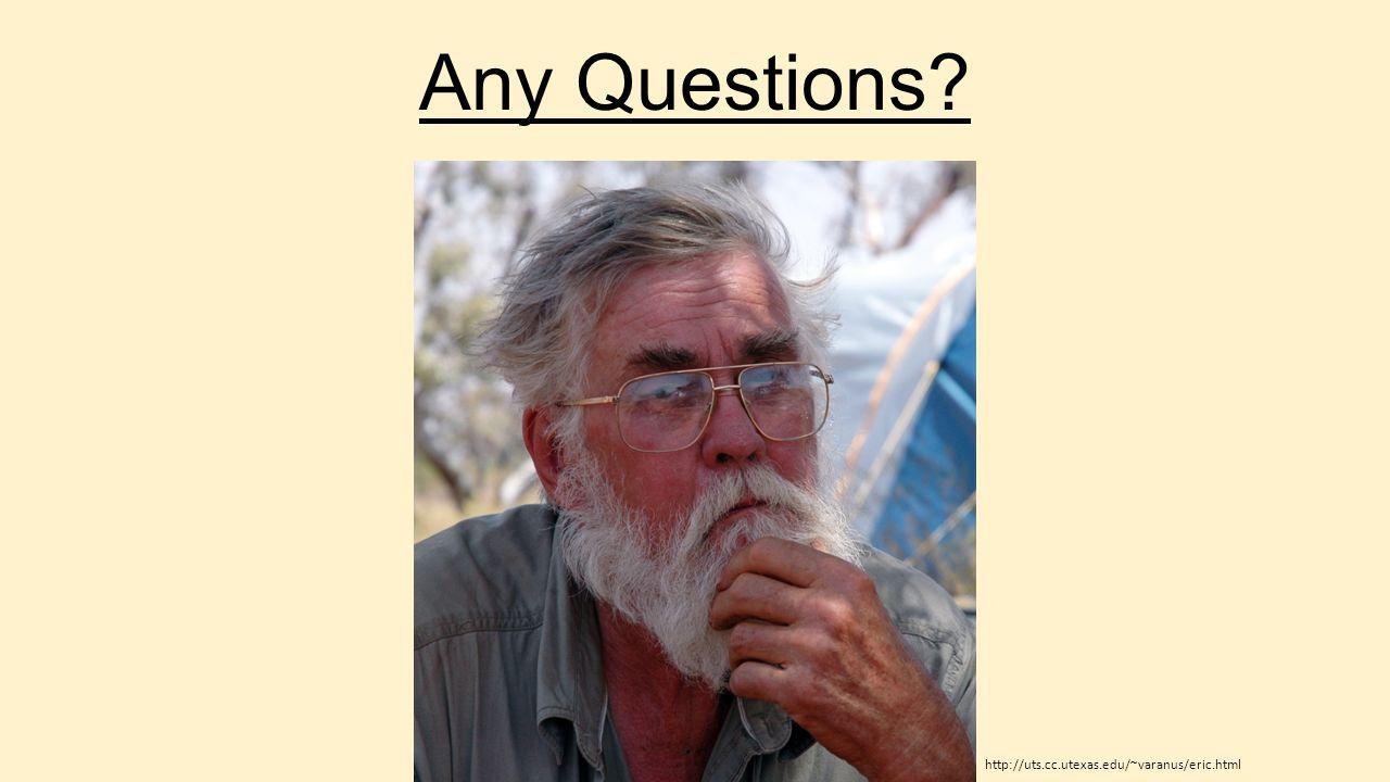 Any Questions? http://uts.cc.utexas.edu/~varanus/eric.html