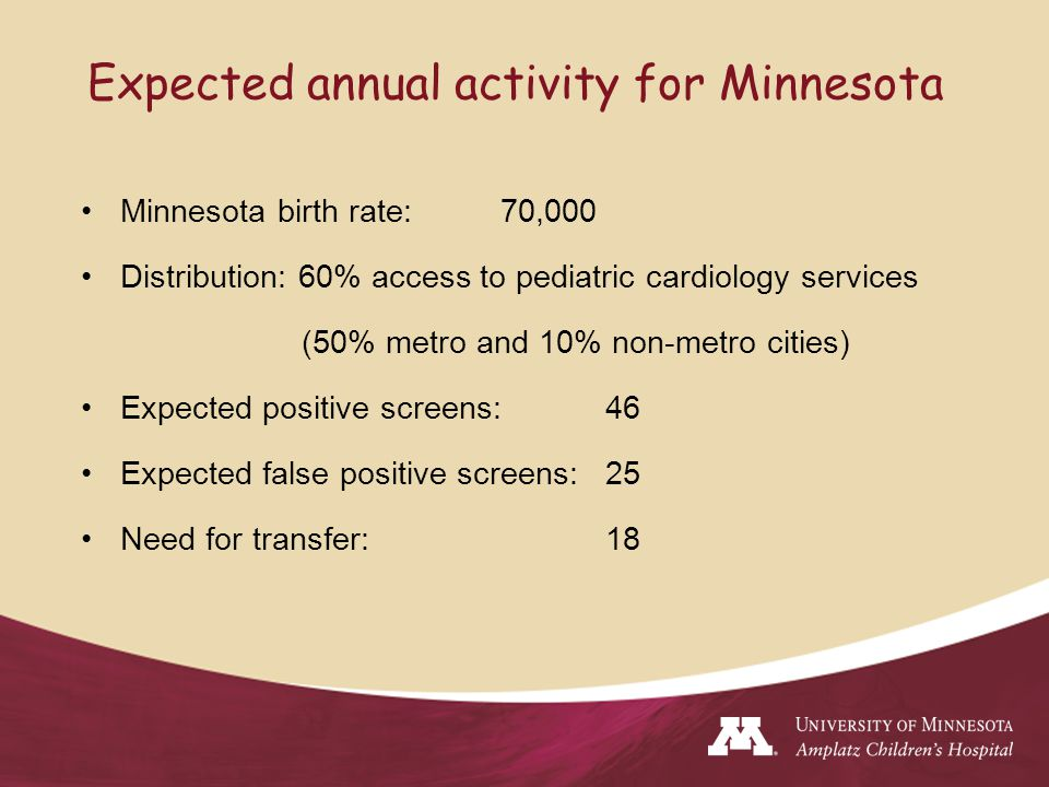 Expected annual activity for Minnesota Minnesota birth rate:70,000 Distribution: 60% access to pediatric cardiology services (50% metro and 10% non-metro cities) Expected positive screens: 46 Expected false positive screens: 25 Need for transfer: 18
