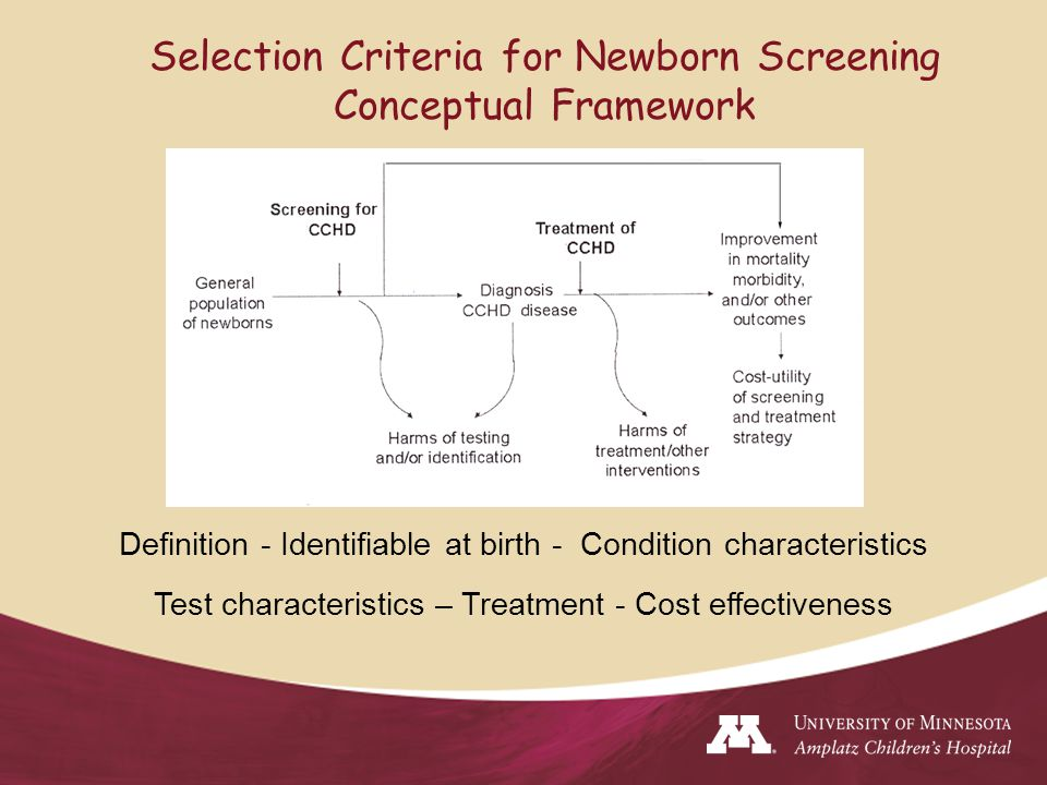 Selection Criteria for Newborn Screening Conceptual Framework Definition - Identifiable at birth - Condition characteristics Test characteristics – Treatment - Cost effectiveness