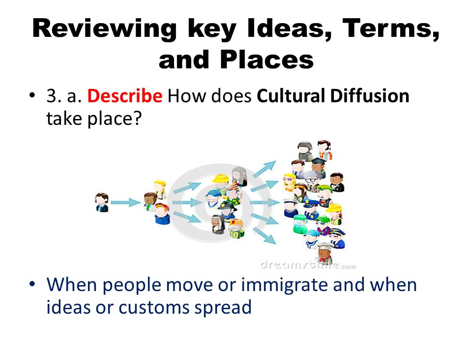 Reviewing key Ideas, Terms, and Places 3. a. Describe How does Cultural Diffusion take place? When people move or immigrate and when ideas or customs