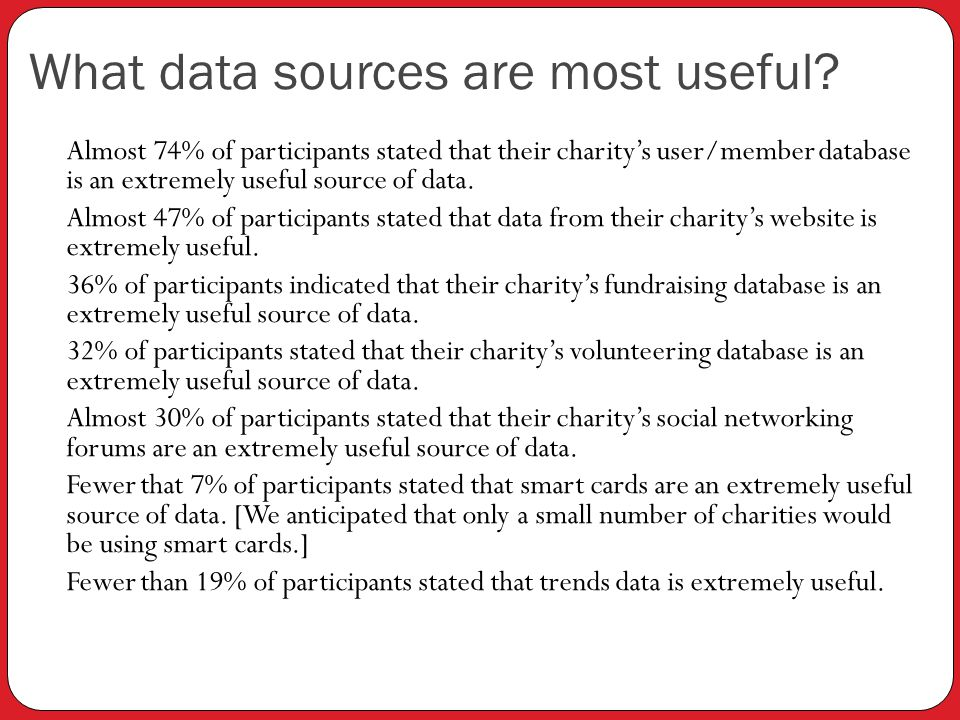 What data sources are most useful.